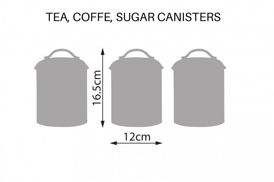 Set of 4 Round Tea, Coffee & Sugar Canisters With Bread Bin - Cream
