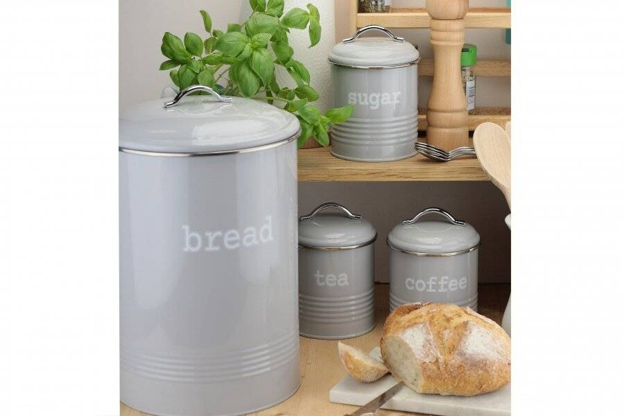 Set of 4 Round Tea, Coffee & Sugar With Bread Bin Storage Canisters