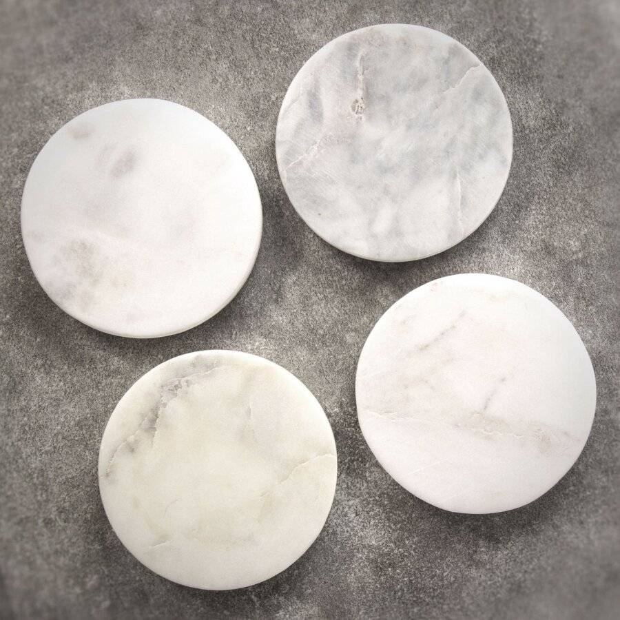 EHC Set of 4 Round White Marble Coasters For Home and Kitchen Use