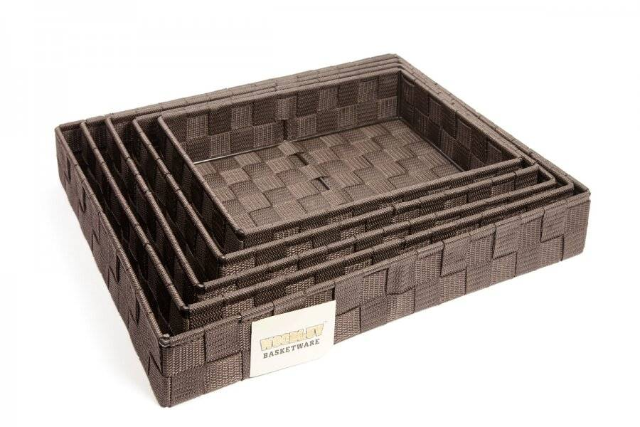 EHC Set of 5 Woven Strap Paper Storage Basket - Dark Brown
