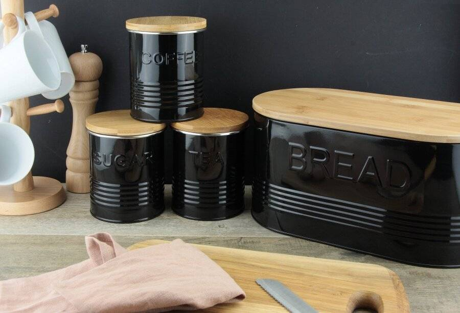 EHC Set of Tea, Coffee, Sugar & Bread Canisters With Bamboo Lid, Black