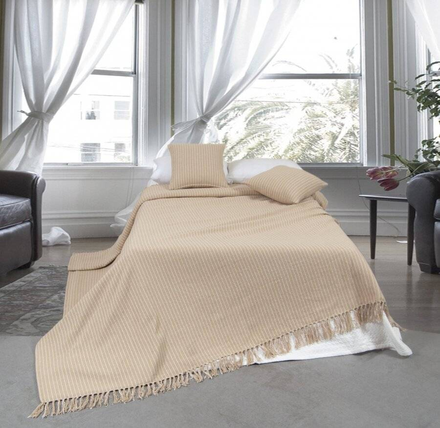 EHC Soft Divine Stripe Cotton King Size Throw, Beige - 225 cm X 250 cm