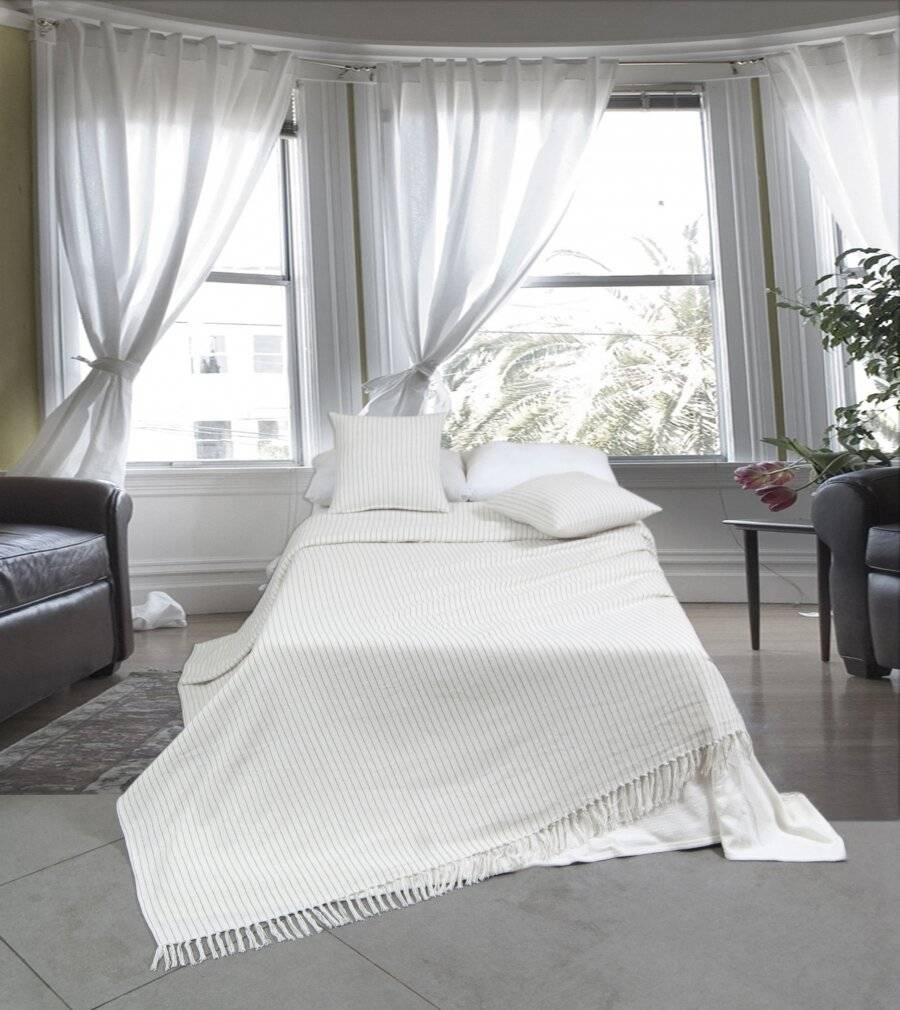 EHC Soft Divine Stripe Cotton King Size Throw, Cream - 225 cm X 250 cm