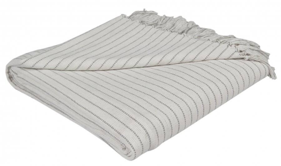 EHC Soft Divine Stripe Cotton Super King Throw, Ivory 250 cm X 380 cm