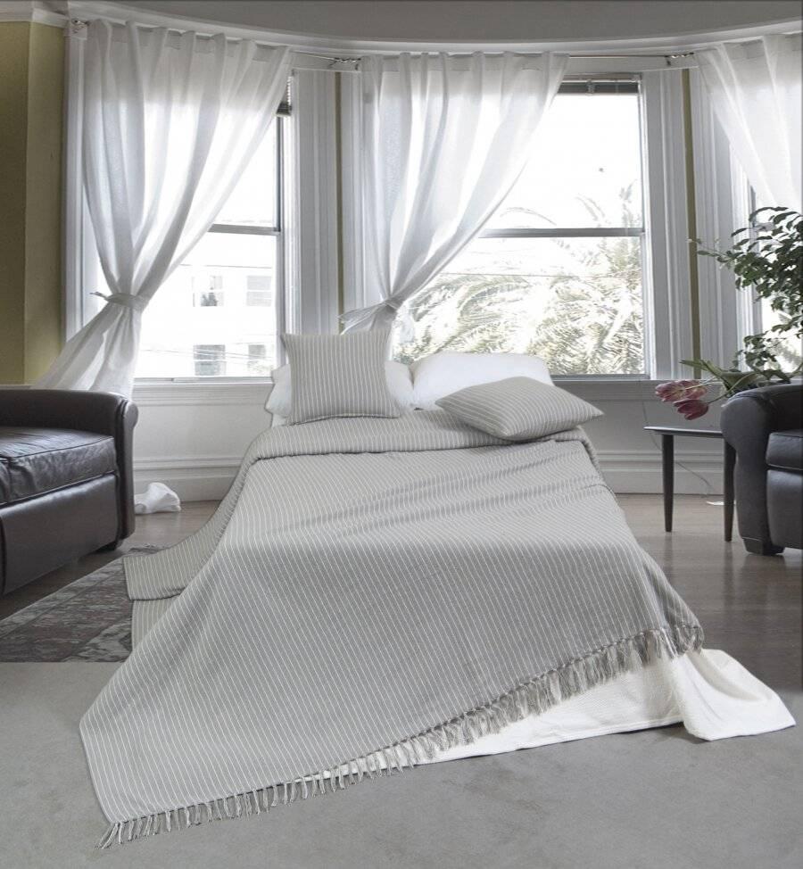 EHC Soft Divine Stripe Cotton Throws , Grey 150 X 200 cm - Double
