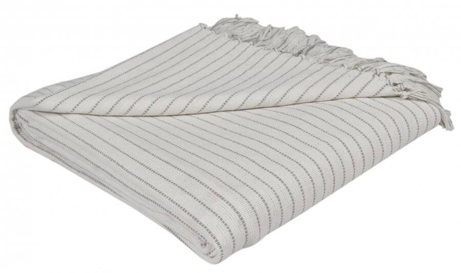 EHC Soft Divine Stripe Cotton Throws, Ivory 150 X 200 cm - Double