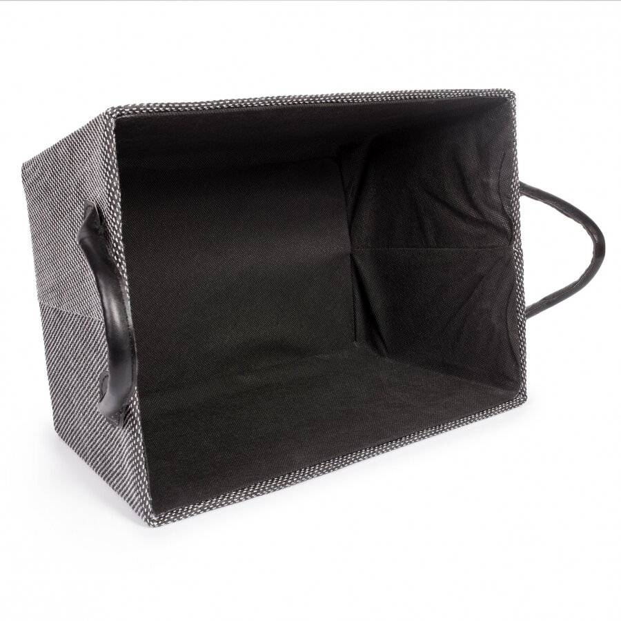 EHC Storage Basket With Faux Leather Handles, Black