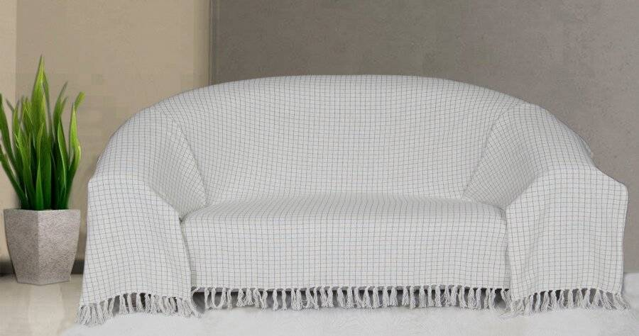 EHC Super Soft Divine Check Cotton Fringe Throw, Double - Ivory