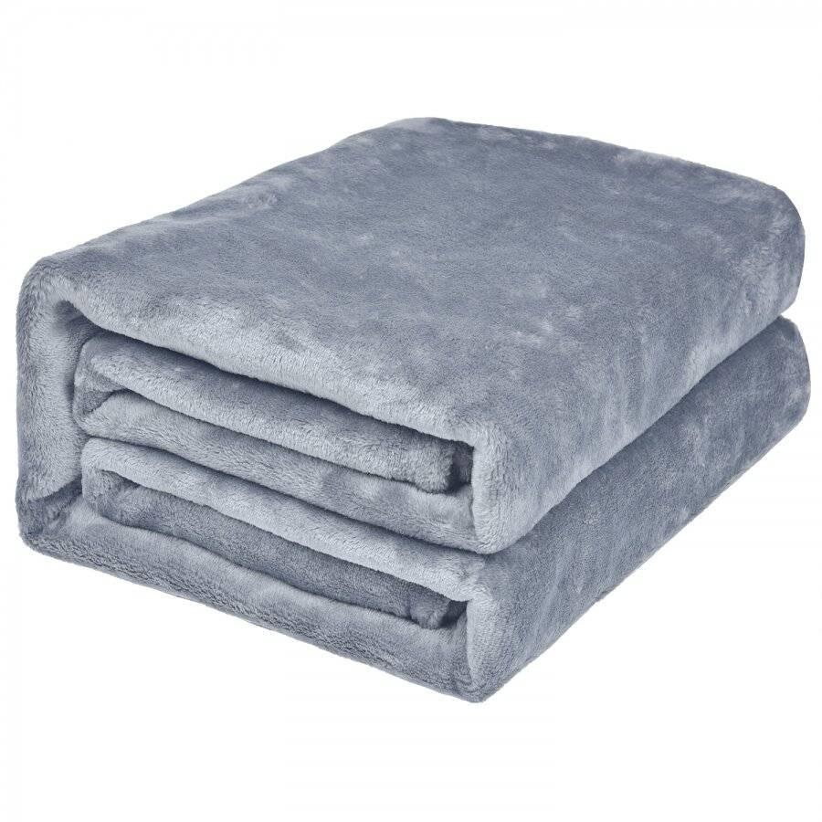 EHC Super Soft Fluffy Flannel Fleece Throws, Light Grey 150  x 200 cm