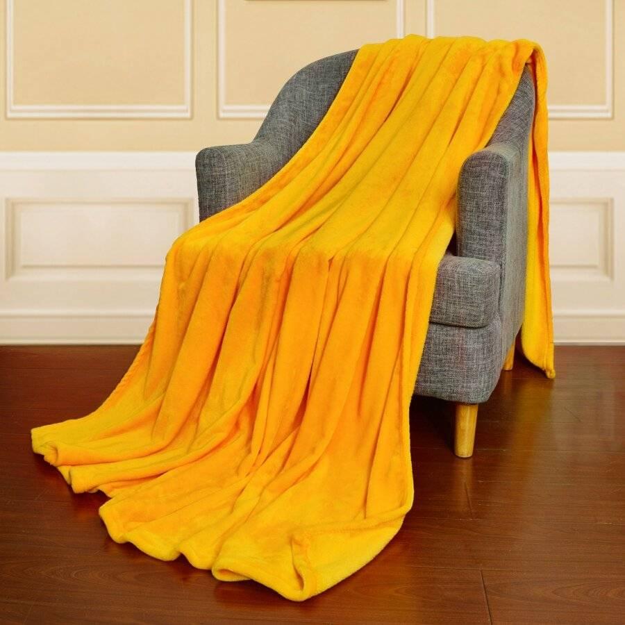 EHC Super Soft Fluffy Flannel Fleece Throws, Yellow  200 cm x 240 cm