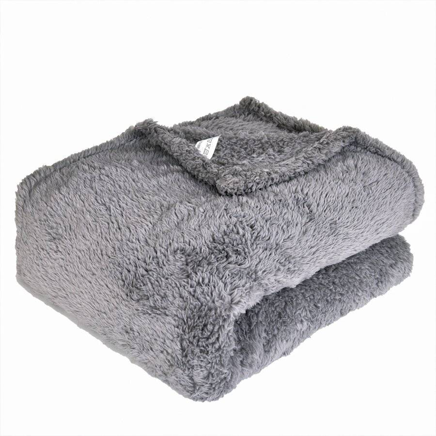 EHC Teddy Super Soft Fleece Thermal Sofa Blanket, 130 x 170 cm  - Grey