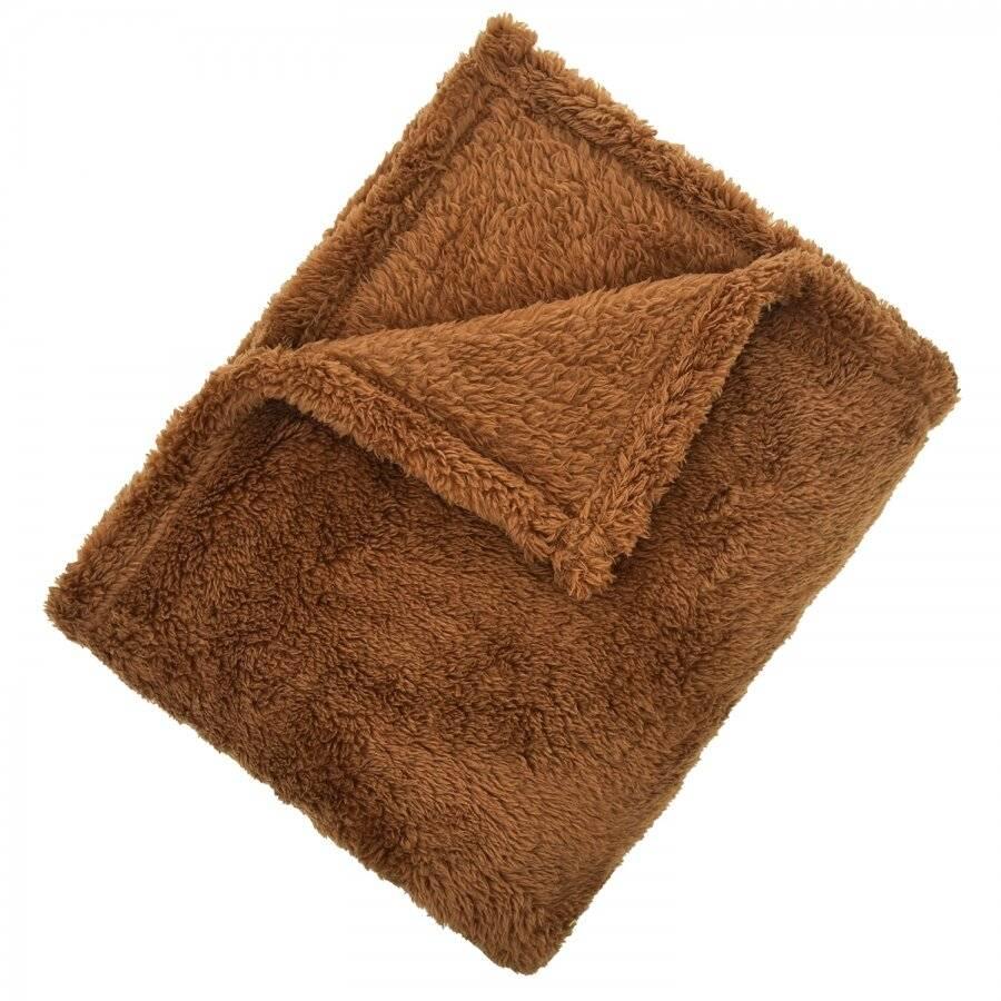 EHC Teddy Super Soft Fleece Thermal Sofa Blanket, 130 x 170cm - Brown