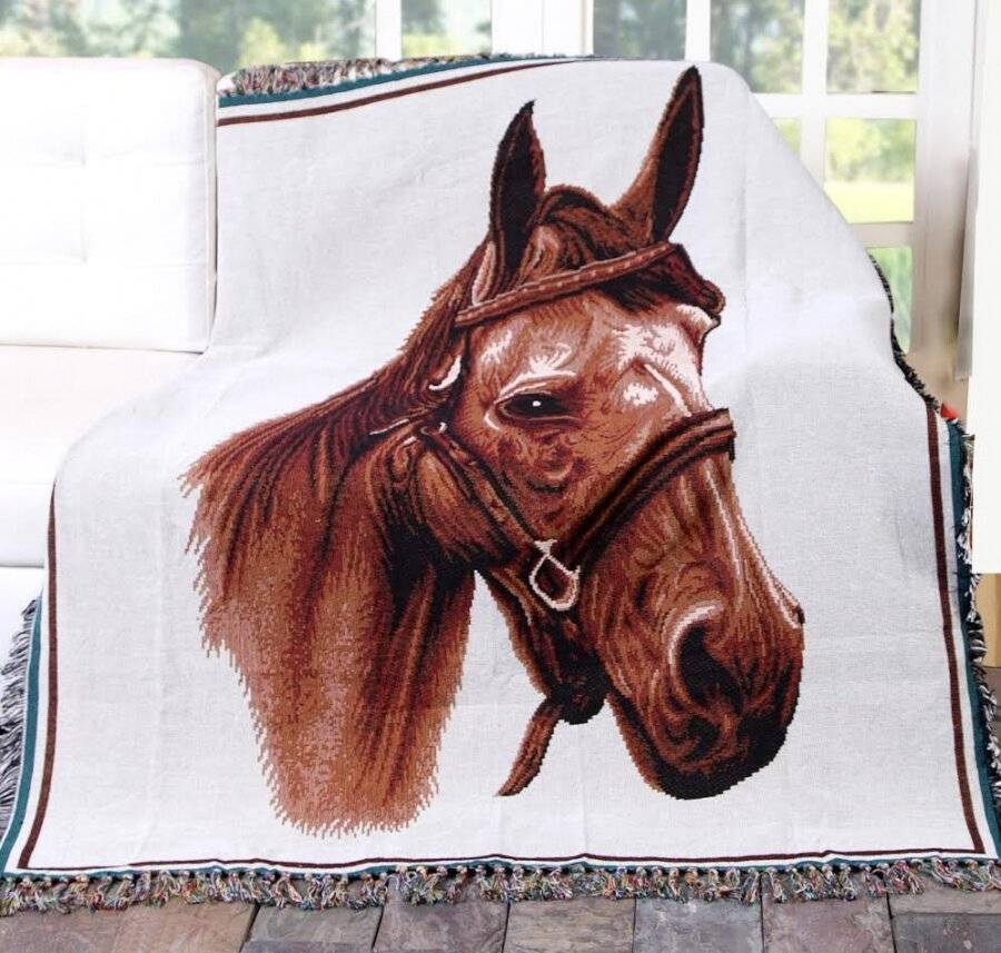 Vintage Jacquard Tapestry Hand Woven Royal Horse Throws for Sofa Armchair