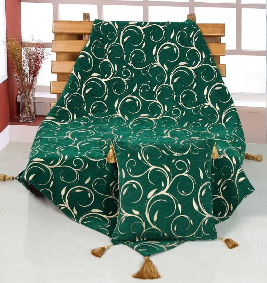 Vintage Chenille Scroll Throw Set , 127 x 152 cm - Green