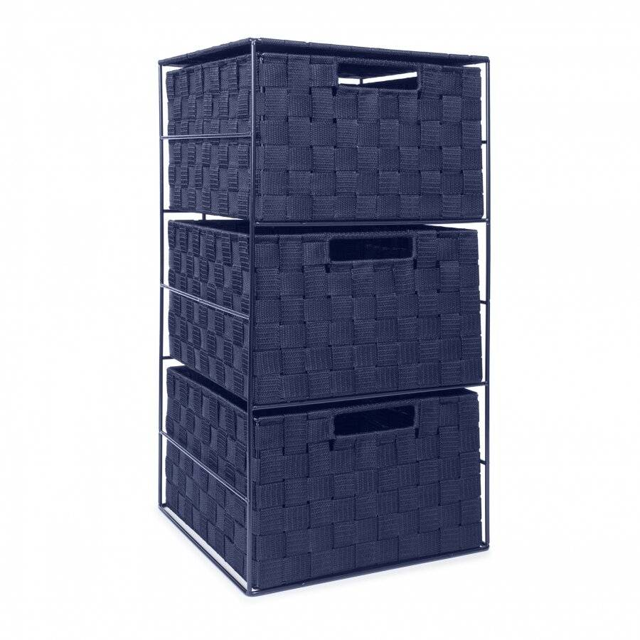 EHC Woven 3 Drawer Storage Unit Cabinet For Bathroom, Bedroom - Blue
