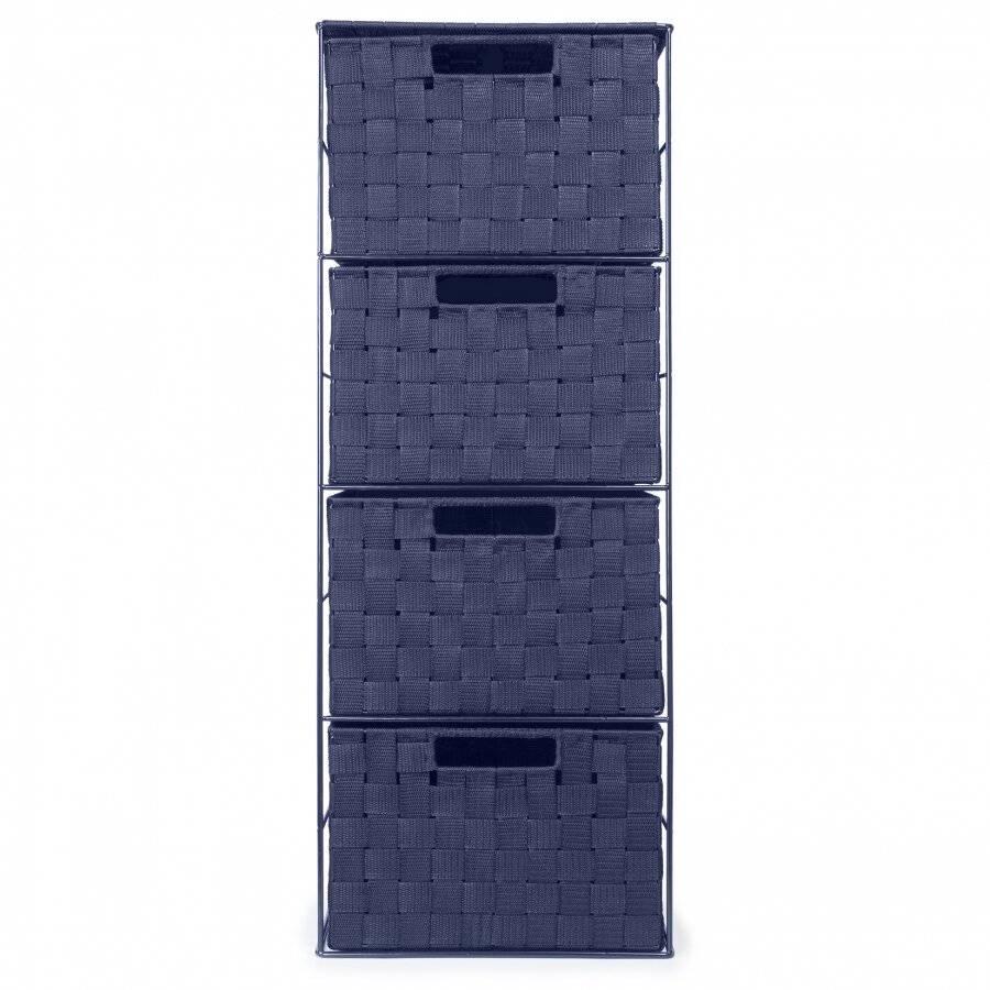 EHC Woven 4 Drawer Polypropylene Cabinet For Bathroom, Bedroom - Blue