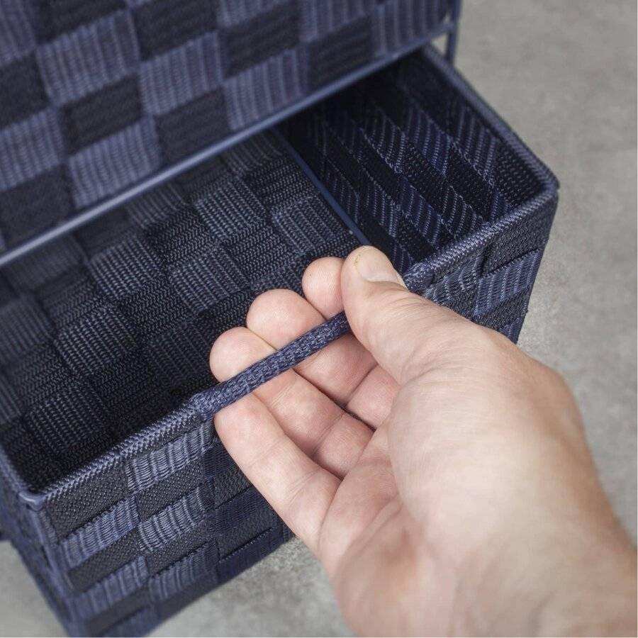 EHC Woven 4 Drawer Storage Unit Cabinet For Bathroom, Bedroom - Blue