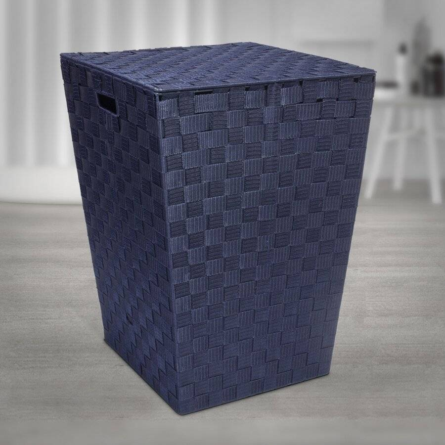EHC Woven Pattern Laundry Storage Hamper Basket With Lid - Blue