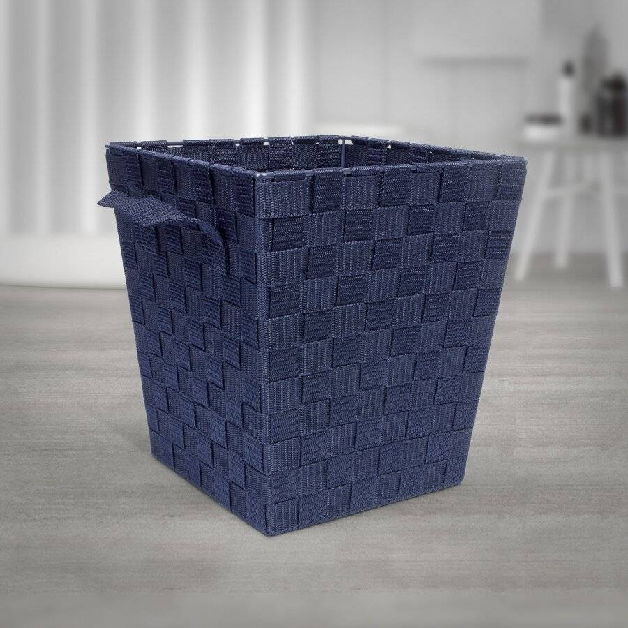 EHC Woven Waste Paper Bin Basket With Hollow Handle - Blue