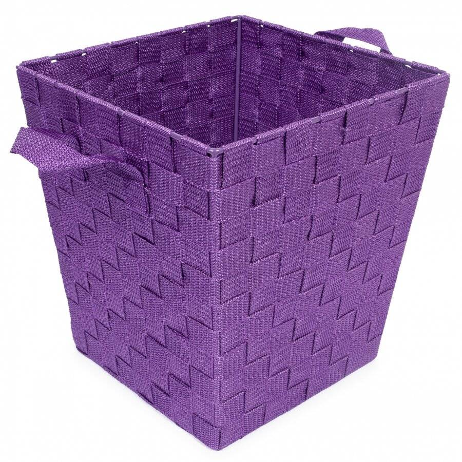EHC Woven Waste Paper Bin Basket With Hollow Handle - Purple