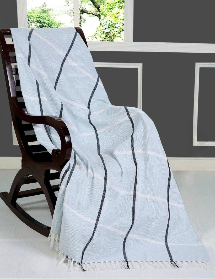 Elegance Cotton Throw for Sofa,Settee Or Arm Chair- Blue (127cm x 152cm)