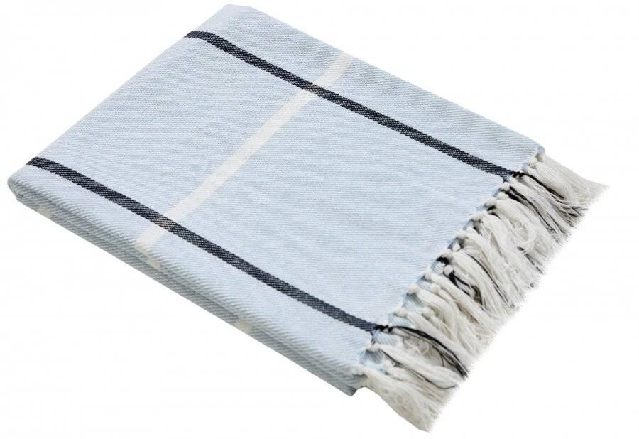 EHC Cotton Throw For Sofa, Settee or Armchair - Blue (127 cm x 152 cm)