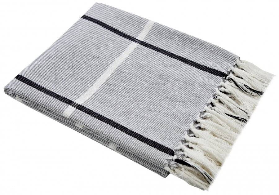 Elegance Cotton Throw for Sofa,Settee Or Arm Chair- Grey (127cm x 152cm)