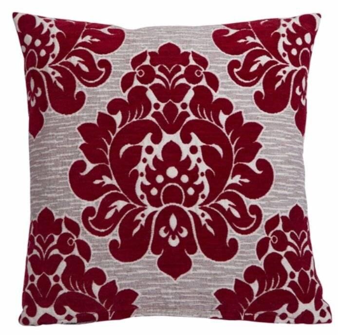 Elegant Damask  Decorative Chenille Cushion Cover  - Red
