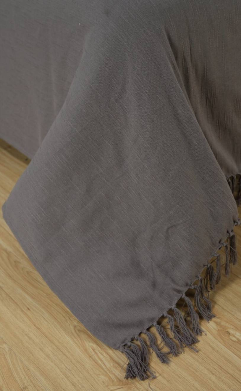 Elegant Slub Cotton Throws For Sofa, Settees or King Size Bed - Grey