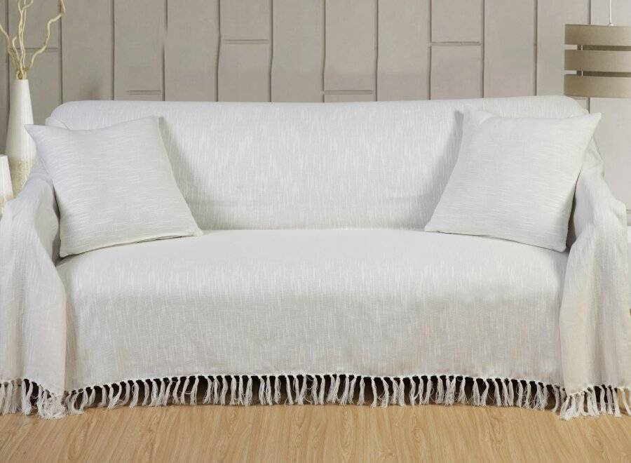 Cotton Throws For Sofa-King Size Bed- Ivory|Elite Housewares