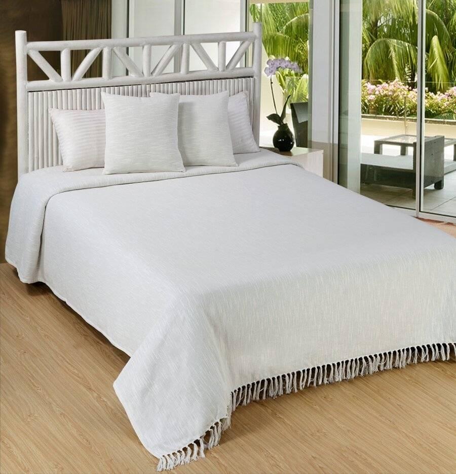 Elegant Slub Cotton Throws for Sofa, Settees or King Size Bed- Ivory