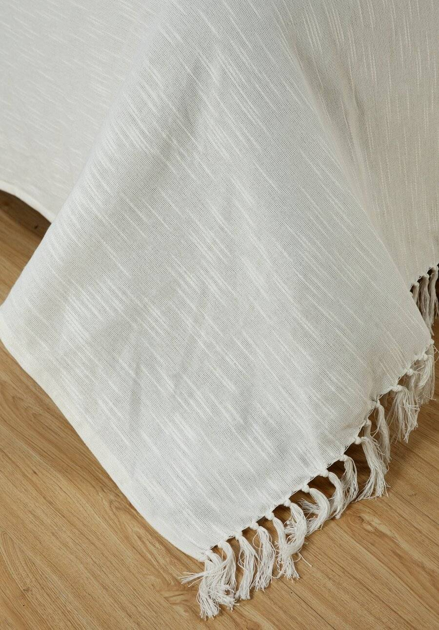 Cotton Throws For Sofa, Single Bed- Ivory | Elite Housewares