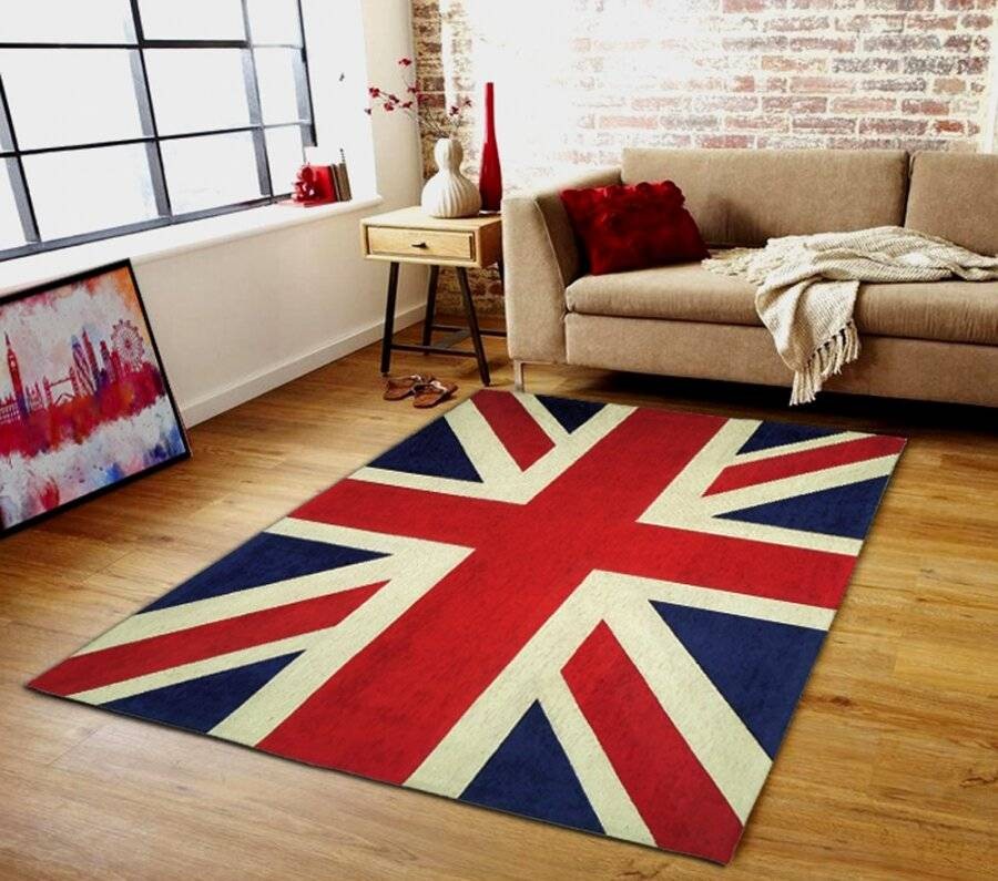 Elegant Union Jack Woven Chenille Floor Carpet Rug