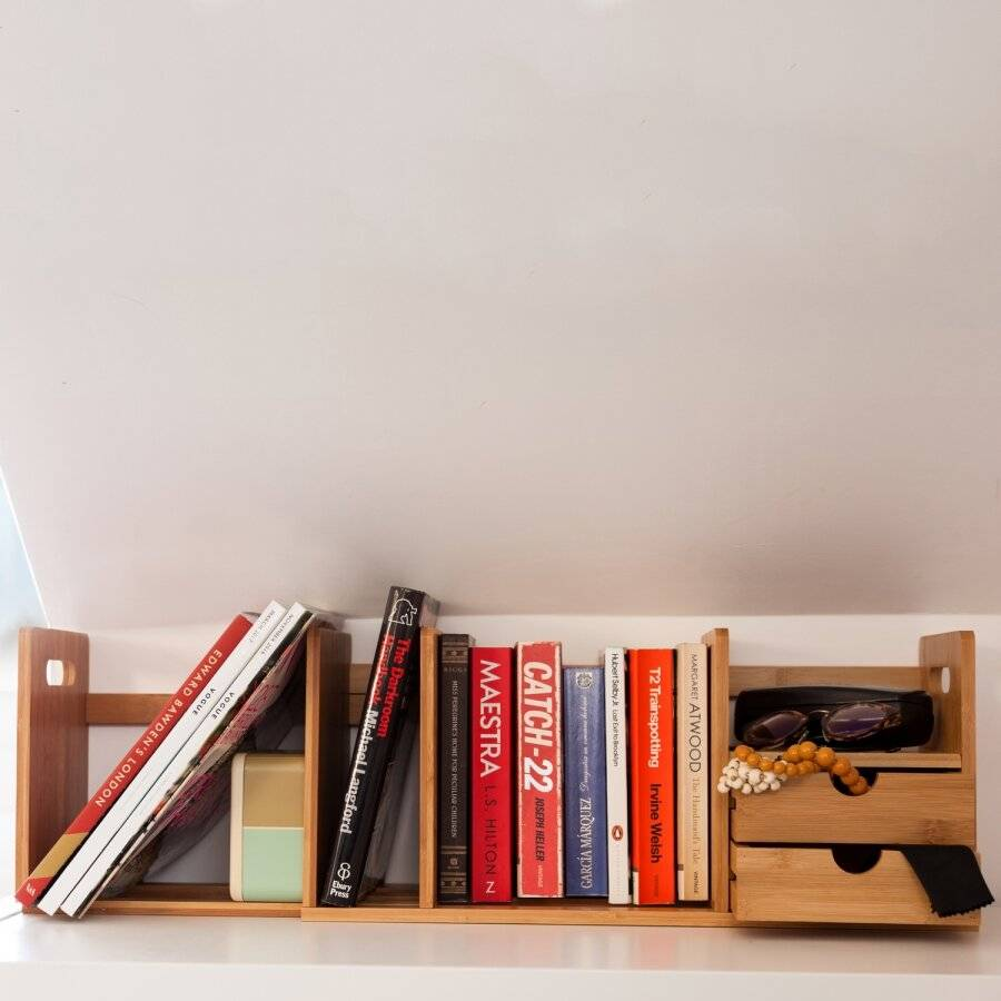 Expendable Desk Organizer With 2 Drawers & Adjustable Bookshelf