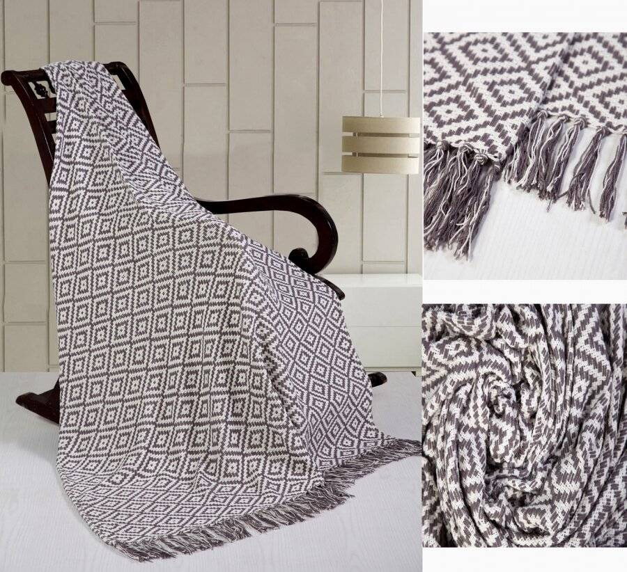 Exquisite Dimaond Pattern Cotton Throw For Single Bed Or Sofa- Smoke