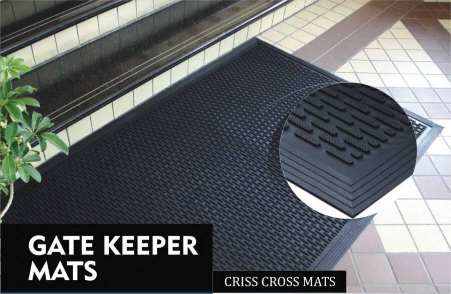 Extra Heavy Duty  Rubber Gate Keeper Criss Cross Non-Slip Outdoor Door Mat