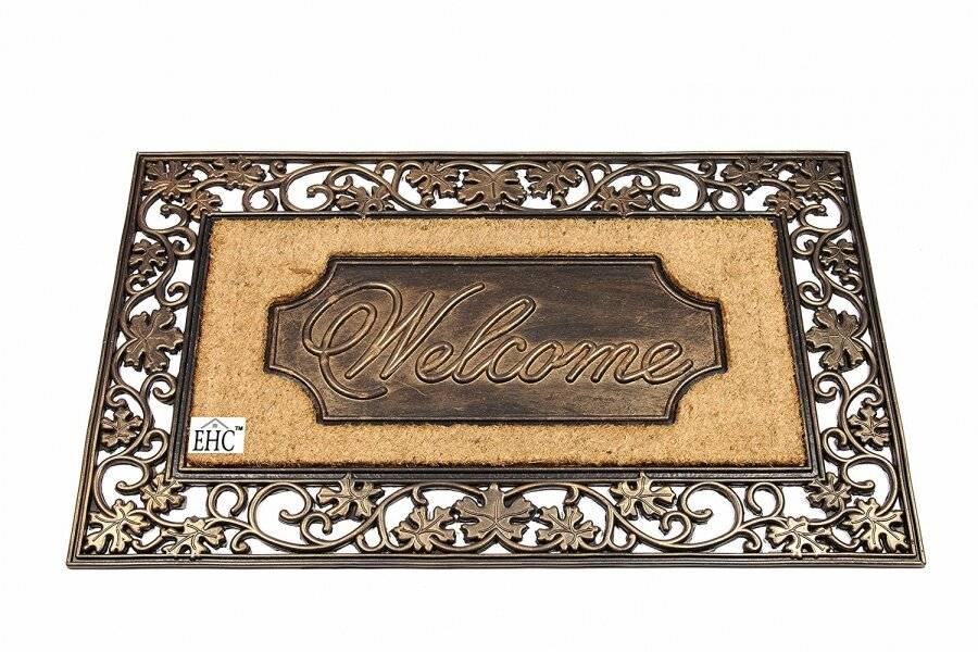 Extra Large Welcome Rubber and Coir Door Mat - Bronze Finish