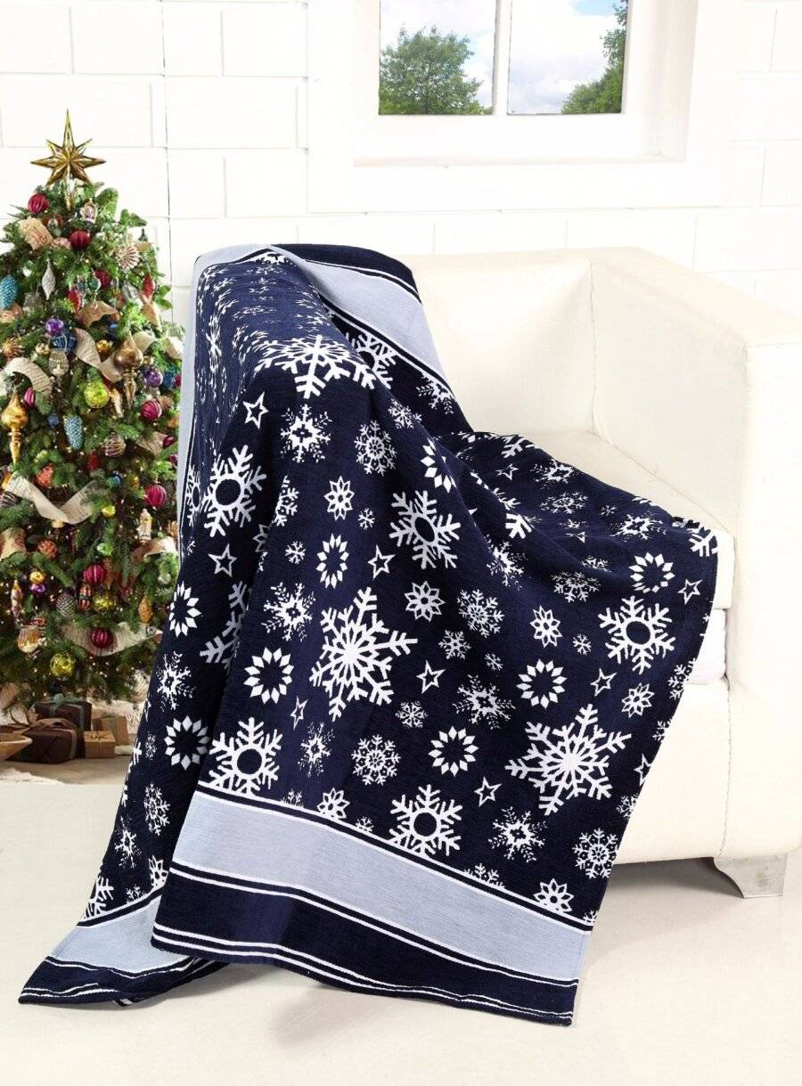 Merry Xmas scroll and Xmas Tree Pattern Sofa Bed Throw - 127 x 152 cm