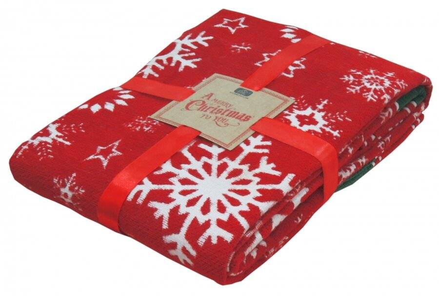 Merry Xmas scroll and Xmas Tree Pattern Sofa Bed Throw - 127 x 152 cm