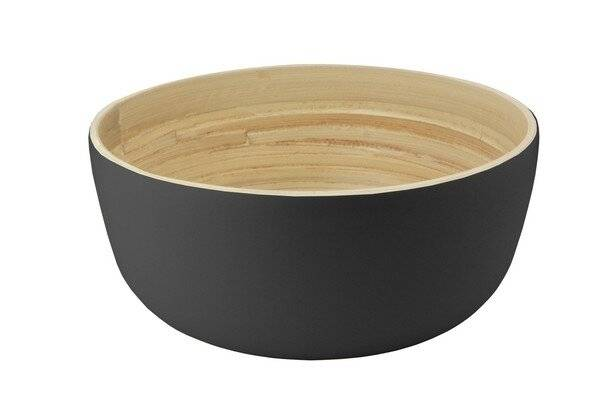 Food-Safe Decorative Premium 25 cm Bamboo Salad Bowl,Black