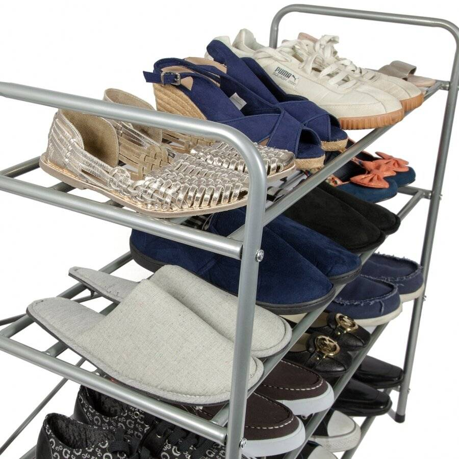 Woodluv 4 Tier Metal Shoe Storage Free Standing Unit For Home
