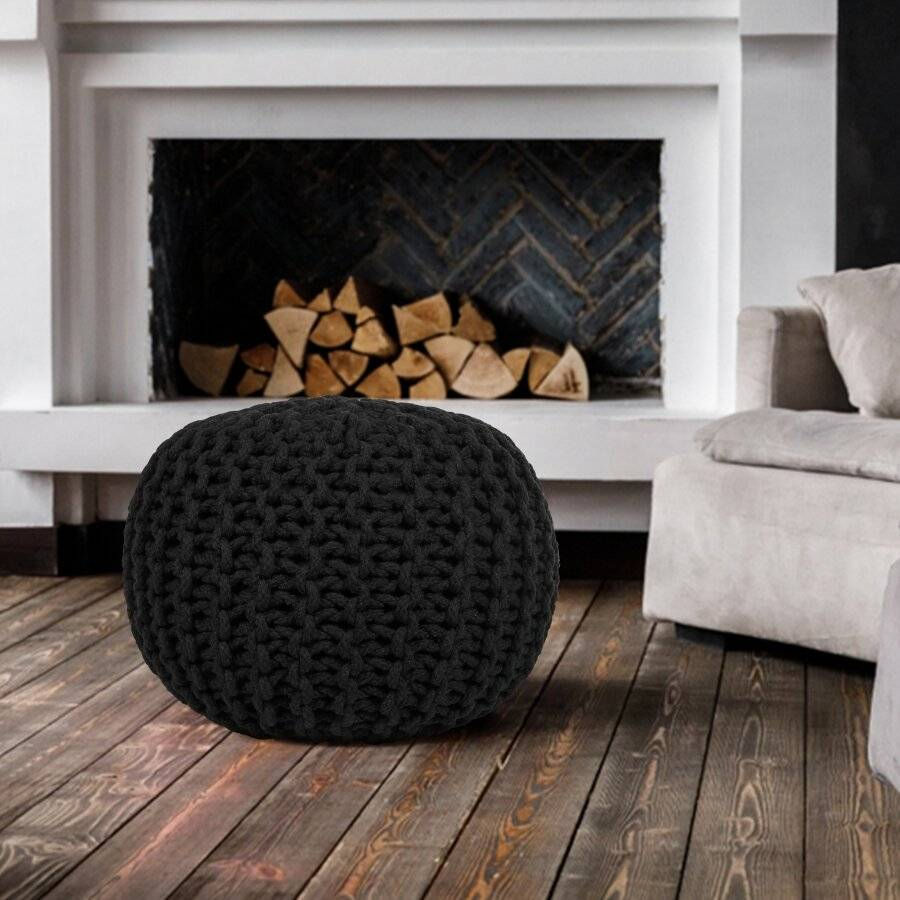 Hand Knitted Chunky Double Braided Cotton Pouffe - Black