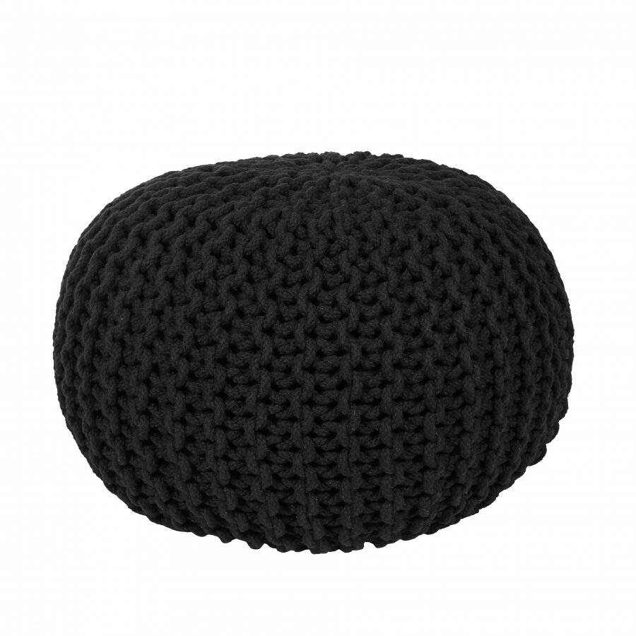 EHC Hand Knitted Chunky Double Braided Cotton Pouffe - Black