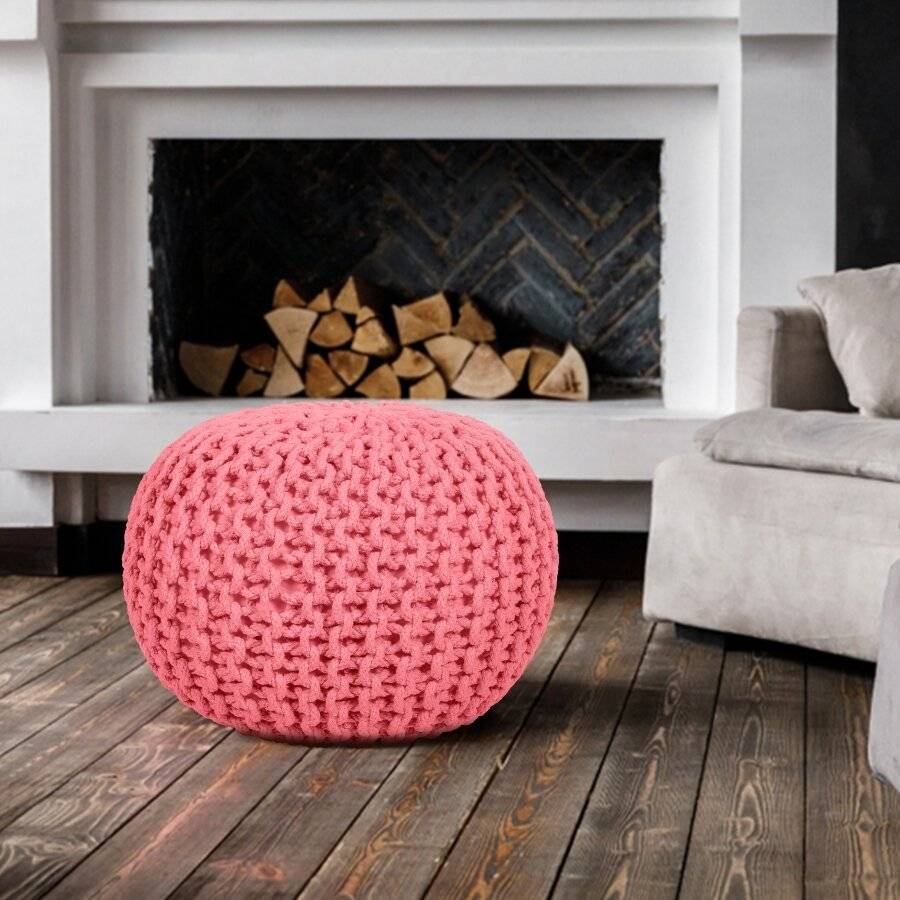 Hand Knitted Chunky Double Braided Cotton Pouffe - Blush Pink