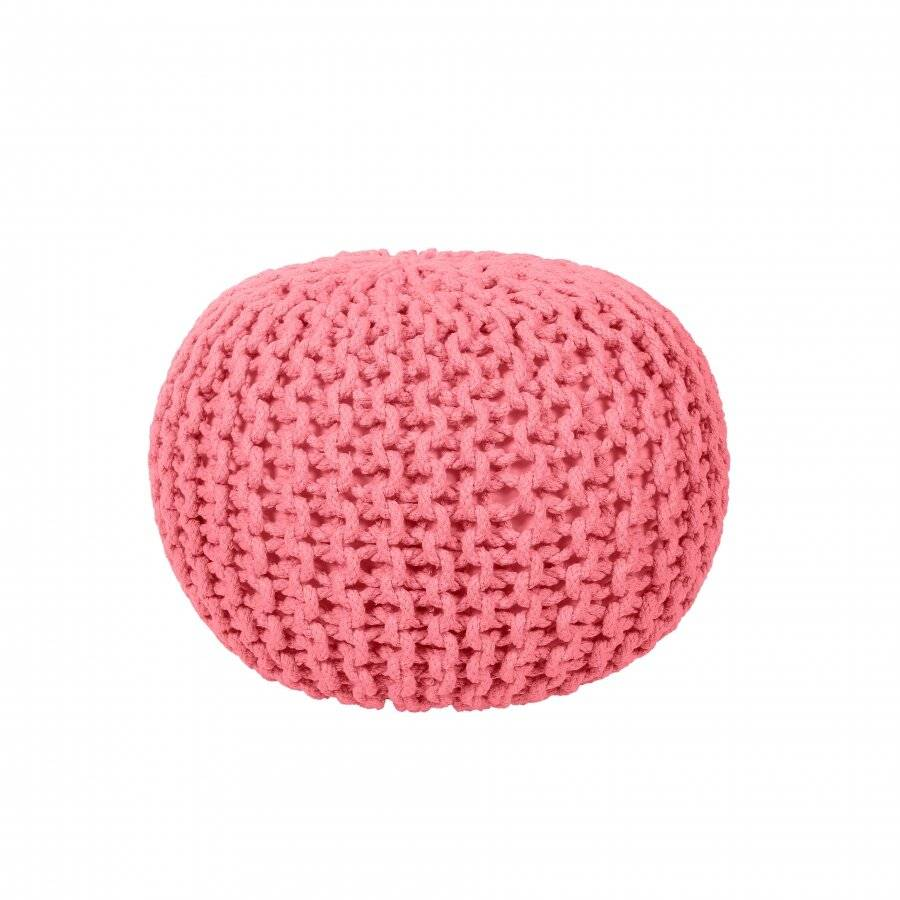 EHC Hand Knitted Chunky Double Braided Cotton Pouffe - Blush Pink