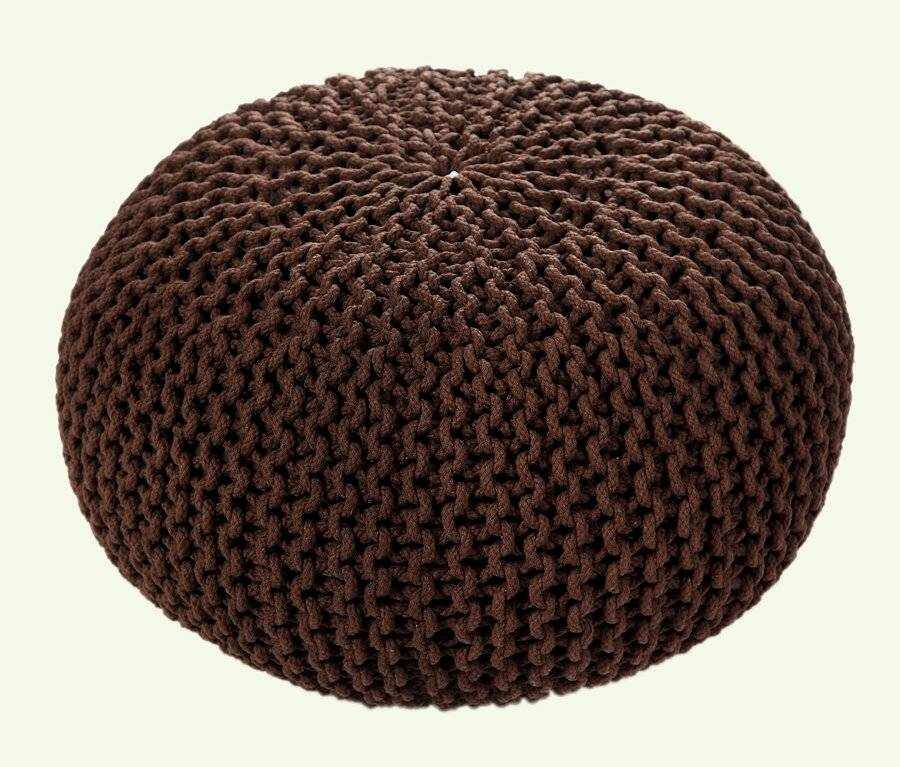 Hand Knitted Chunky Double Braided Cotton Pouffe- Chocolate