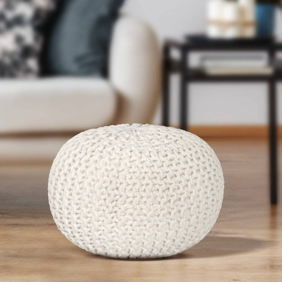 EHC Hand Knitted Chunky Double Braided Cotton Pouffe - Cream