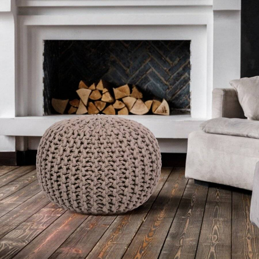 Hand Knitted Chunky Double Braided Cotton Pouffe - Latte