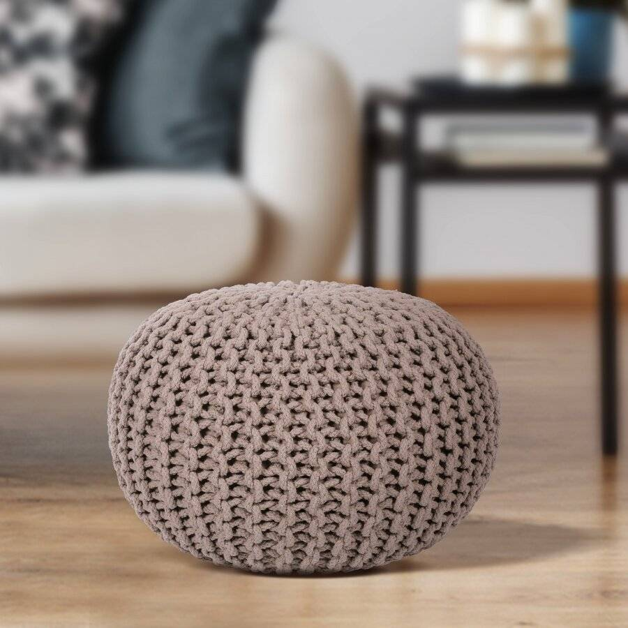 EHC Hand Knitted Chunky Double Braided Cotton Pouffe - Latte