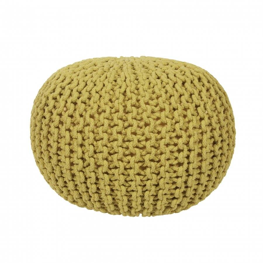 EHC Hand Knitted Chunky Double Braided Cotton Pouffe - Ochre
